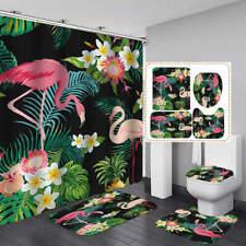 Tropical Flower Flamingo Bath Mat Toilet Cover Rugs Shower Curtain Bathroom Art