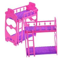 Plastic Bunk Bed Bedroom Furniture Bed Set For Barbie Dolls Decor Dollhouse Q8X3