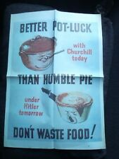 H.M Stationary Office World War II Poster Better Pot Luck With Churchill Today.