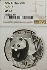 2002 NGC MS69 CHINESE PANDA 10Y 1oz SILVER!!!! #A0618
