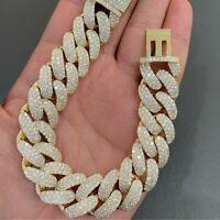"Men's 14mm x 20"" Cuban Link Round Sim Diamond Bracelet in 14k Yellow Gold Plated"