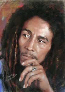 Bob Marley Portrait Giclee canvas From Haiyan Painting Rock Music Smoke
