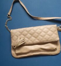 Atmosphere Beige Handbag Strap Clutch fold over style zipped quilted front 79613ab5e20e9