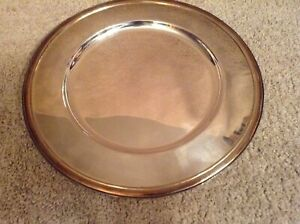 """Vintage Round Pottery Barn Tray Silver with Gold Trim 13 3/8"""""""