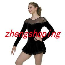 Black  Women's Girls Competition Figure Skating Dress Sleeved 8817