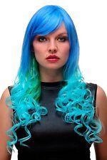 PERRUQUE pour femme Cosplay turquoise bleu vert Mélange long Boucles 65 cm