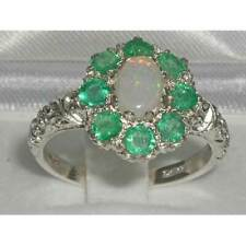 Solid 925 Sterling Silver Natural Opal, Emerald Cluster Ring-Sizes 4 to 12