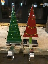 Christmas Tree Stocking Holder Hanger Mantle Green Red Enamel & Chrome! SET OF 2