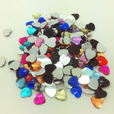 200pcs 6mm Heart-Shaped Resin Rhinestone Gems Flat Back Crystal Beads Mix color