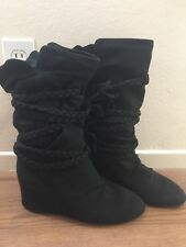 Slouchy Hidden Wedge Boots Size 9 US Black Braided Straps