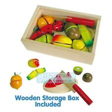 Fun Factory Pretend Play Non-Toxic Wooden Fruit Cutting Set With Knife Free Ship