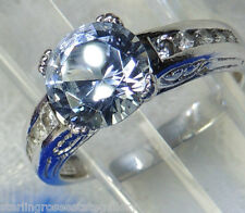8.5 mm rd Blue Spinel CZ Estate Sterling Silver .925 Engagement Band Ring size 9