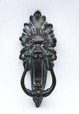 Victorian bronze lion head door knocker, roaring lion knocker, door furniture