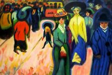 "ERNST LUDWIG KIRCHNER THE STREET 24X36"" OIL PAINTING ON STRETCHERS READY TO HANG"