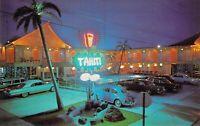 NJ Wildwood Crest TAHITI Resort Motel  NEON SIGN @ night Volkswagen postcard A70