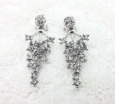 Rhodium Plated Ear Jacket Dangle Front Back Crystal Pave Stud Earrings 43