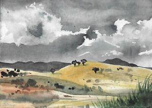original painting A5 21ZT watercolor Realism landscape mountains rainy clouds