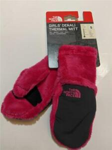 New The North Face Denali Fleece Winter Mittens Pink for Girls Kids Size S/M/L