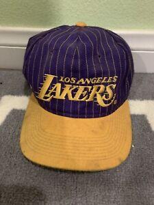 Vintage 1990s Los Angeles Lakers Pinstripe Script NBA Wool Snapback Hat RARE!!!!