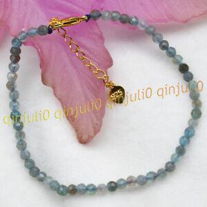 3mm Faceted Natural Blue Aquamarine Gemstone Round Beads Bracelets 7.5'' AA