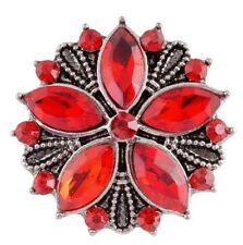 Silver Red Rhinestone Flower 18-20mm Snap Charm For Ginger Snaps Jewelry