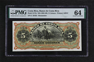 1901-08 Costa Rica Banco de Costa Rica 5 Colones Pick# s173r PMG 64 Choice UNC