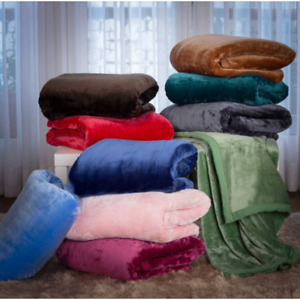 New Solid Colours Soft Cosy Coral Fleece Blanket Throw Bedspread Size Double