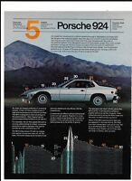 Vintage 1980 Silver Porsche 924 Print Ad - Technical Paper 5 Aerodynamic Form