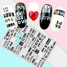 Nail Art Stickers Transfers 3D Self Adhesive Sayings Love (XF3104)