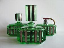 Antique/ Vintage Bohemian ART DECO URANIUM Cut Glass Vanity SET Perfume bottles