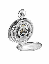 Sterling Silver Plated Woodford Full Hunter Pocket Watch With Albert Chain 1083
