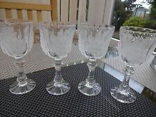 VINTAGE/RETRO x 4 STEMMED WINE GOBLET LIQUOR CUT GLASSES
