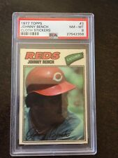 1977 TOPPS CLOTH STICKERS #3 JOHNNY BENCH PSA NM/MT 8 **REDS** KGB-2358