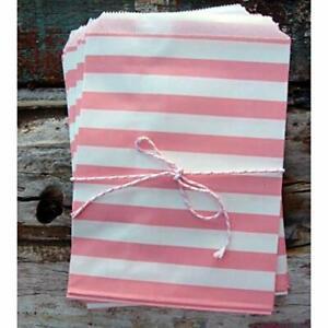 Quasimoon Pink Stripe Paper Treat Bags - (12 PCS) by PaperLanternStore