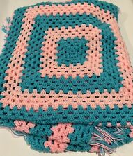 Afghan Blanket Blue and Pink Hand Made Woven with Tassels Large Baby Blanket