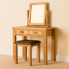Lanner Oak Dressing Table Set / Solid Wood Rustic Oak Table + Mirror & Stool