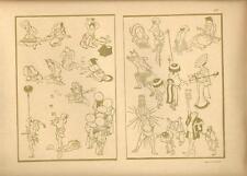 Stampa antica GIAPPONE JAPAN STYLE figure uomini e donne 1885 Antique print