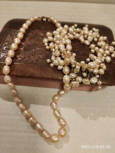 Echte Perlenkette und Armband Champagner/Rosè  Biwa( ? ) aus Erbschaft 22 cm