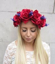 Large Red Purple Lavender Rose Flower Garland Headband Bridesmaid Festival 2455