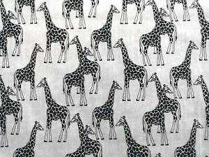 Fat Quarter Black & White Giraffe Fabric Material POLY COTTON Crafts FQ