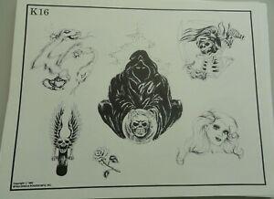 Vintage 1982 RARE Spaulding & Rogers Tattoo Flash Sheet K16 Wizard Skeleton