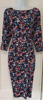 Womens Precis Petite Black Multi Floral Stretch Jersey 3/4 Sleeve Pencil Dress12