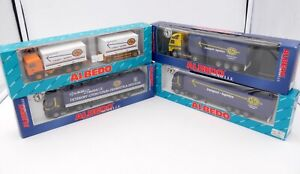 ALBEDO HO 1/87 - 4 x CAMIONS VOLVO RENAULT ASG TRANSPORT LOGISTICS AVEC BOITES