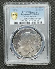 1845 Great Britain Crown S-3882 Cinquefoil Edge | PCGS Genuine, VERY FINE Detail