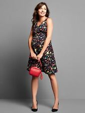 Gap Maternity Double V-neck sleeveless confetti dress,True Black SZ 4  #734273 v