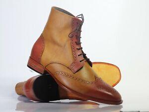 Men's Handmade Tan Brown Leather Wing Tip Brogue Boots, Men Designer Boots