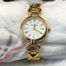 Fossil Womens Goldtone White Face Watch **New** Battery Working