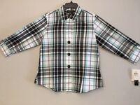 Foxcroft Women's Blue Plaid 3/4 Sleeved Blouse Wrinkle Free Size 6 Misses