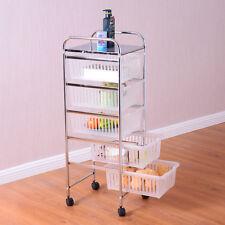 5 Tier Storage Trolley Rolling Cart Rack Basket Shelf Home Kitchen Bathroom New