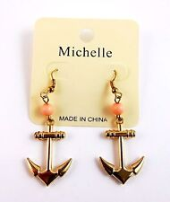 Anchor dangle earrings gold tone metal pink bead hook fasteners